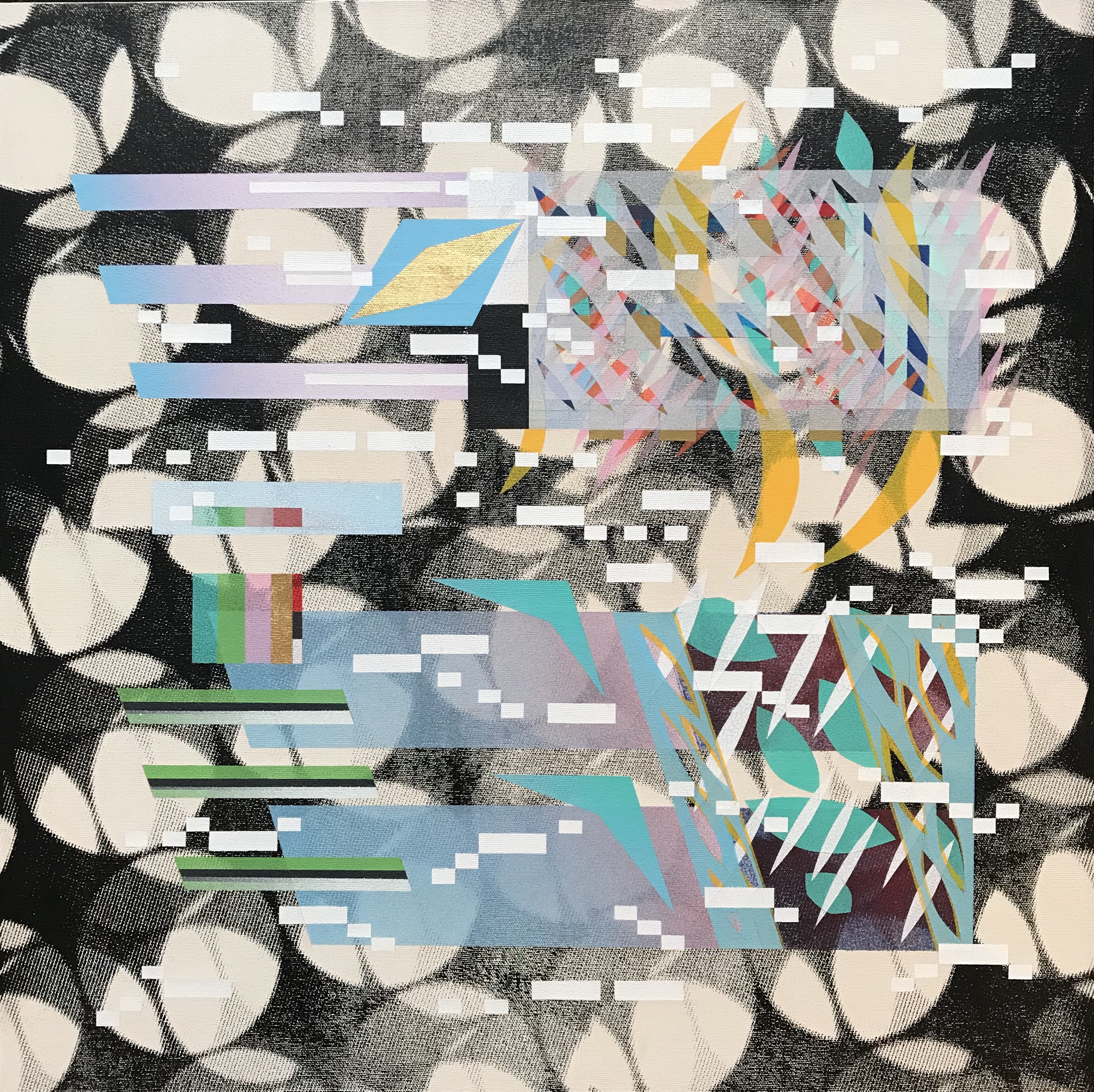 Glitched Habitat #1 (with morse coding) SOS.Silkscreen, Goldleaf and Spray-paint on Canvas 61cmx61cm 2020