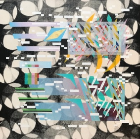 Glitched Habitat #1 (with morse coding) SOS. Silkscreen, Arcylic and Spray-paint on Canvas 61cmx61cm 2020